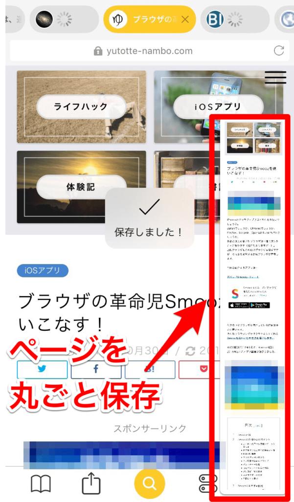 ページ全体のスクリーンショットでSmoozの解説記事をスクショ